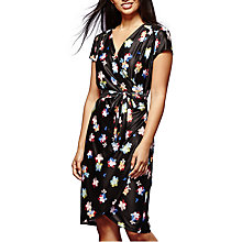 Buy Yumi Printed Flower Wrap Dress, Black Online at johnlewis.com