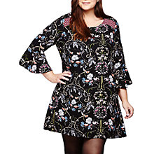 Buy Yumi Curves Floral Print Shift Dress, Black Online at johnlewis.com