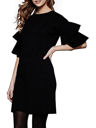Yumi Fluted Sleeve Knitted Dress, Black