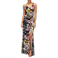 Buy Adrianna Papell Floral Velvet V Neck Ruched Long Dress, Pink/Multi Online at johnlewis.com