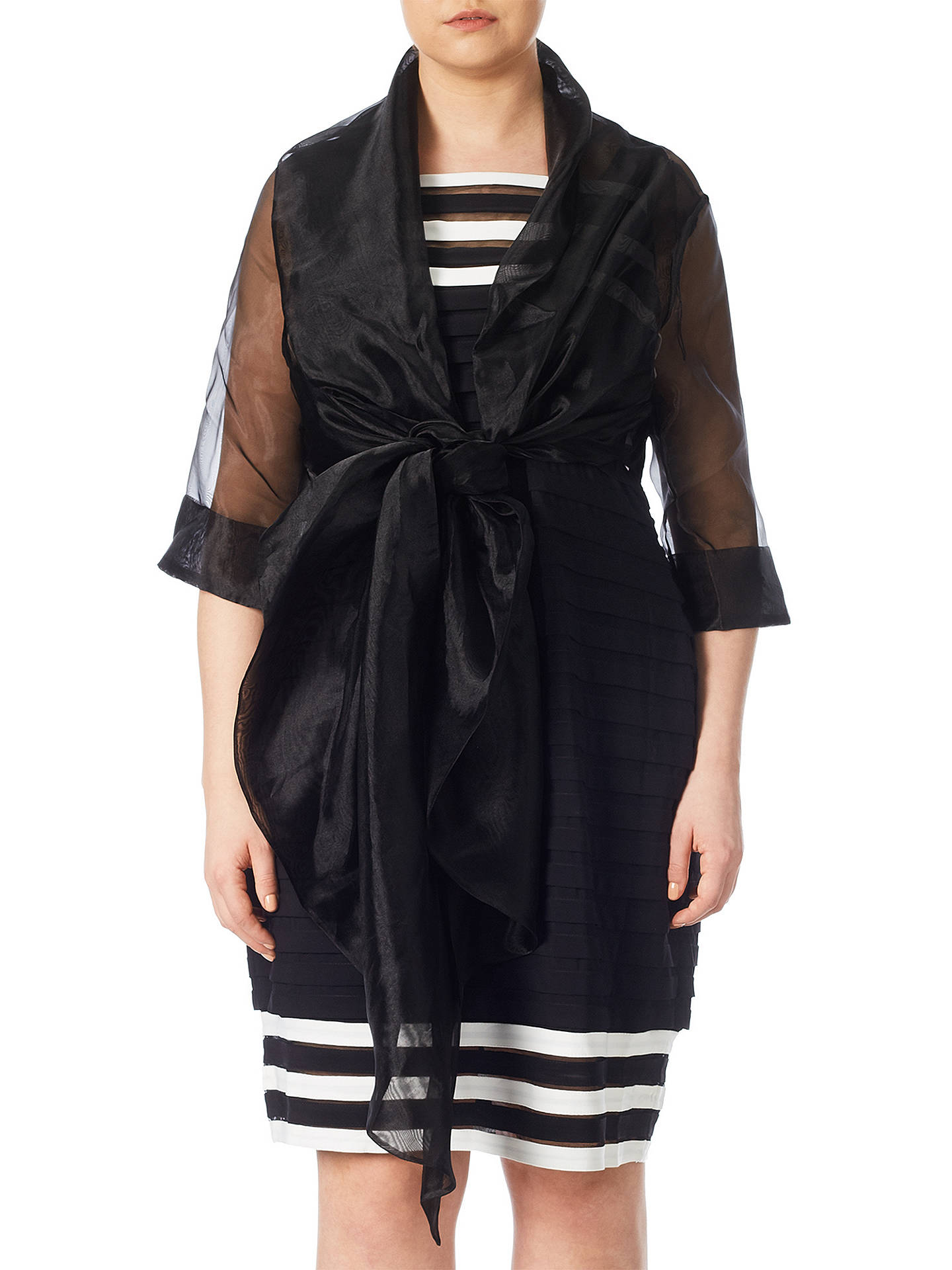 Buy Adrianna Papell Short Sleeve Organza Wrap Jacket, Black, XL Online at johnlewis.com
