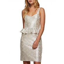 Buy Miss Selfridge Lace Peplum Dress, Silver Online at johnlewis.com