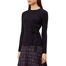 Buy Hobbs Tia Bow Waist Jumper, Navy Online at johnlewis.com