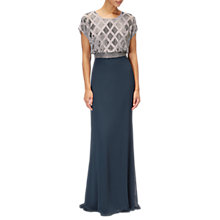 Buy Adrianna Papell Lattice Bodice Long Beaded Dress, Navy/Silver Online at johnlewis.com