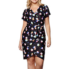 Buy Yumi Curves Blurred Flower Wrap Dress, Black Online at johnlewis.com
