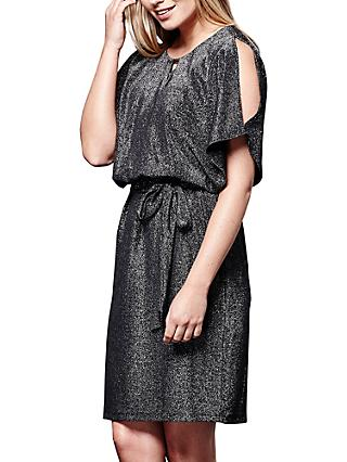 e6f21ce5911edf Yumi Metallic Cold Shoulder Dress