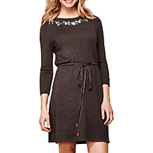 Buy Yumi Floral Embroidery Knit Dress, Dark Grey Online at johnlewis.com