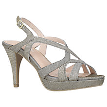Buy Carvela Asha Multi Strap Cone Heeled Sandals, Metallic Fabric Online at johnlewis.com