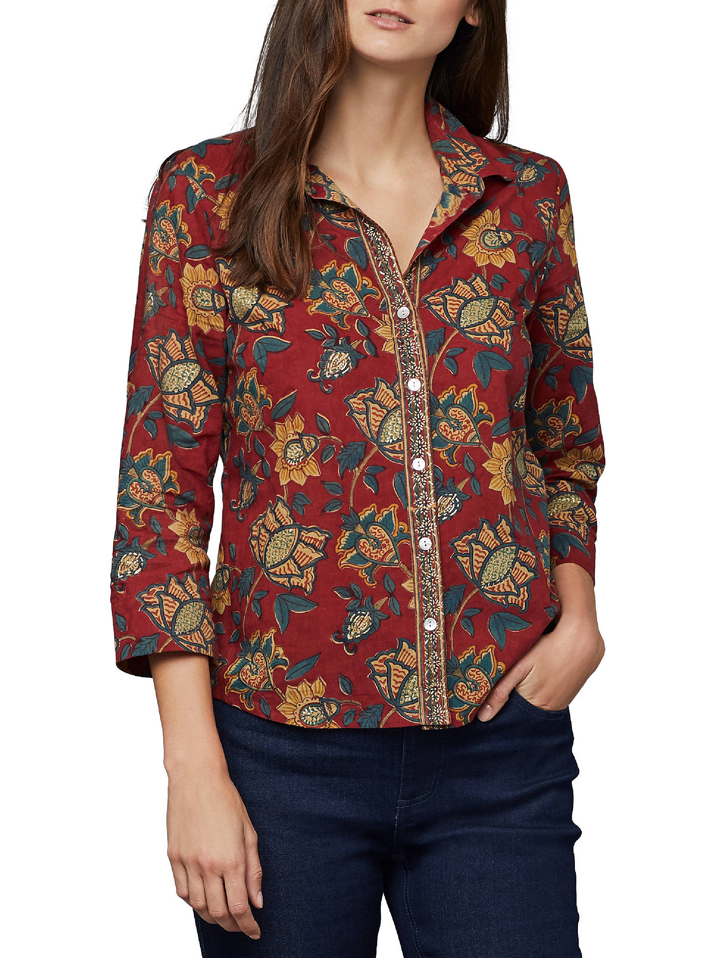 cbc486cb434 Buy East Anokhi Shirin Print Shirt, Red/Multi, 10 Online at johnlewis.
