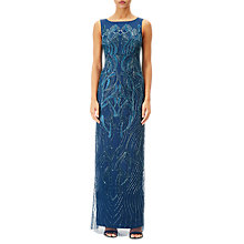 Buy Adrianna Papell Beaded Boat Neck Long Evening Dress, Blue Online at johnlewis.com
