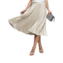 Buy Reiss Alisa Pleated Midi Skirt, Silver Metallic Online at johnlewis.com