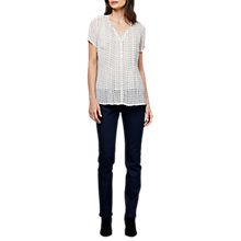 Buy East Calico Foulard Pinktuck Blouse, White/Multi Online at johnlewis.com