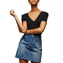 Buy Miss Selfridge Seamed Denim Skirt, Mid Wash Denim Online at johnlewis.com