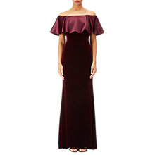 Buy Adrianna Papell Off Shoulder Velvet Dress, Dark Wine Online at johnlewis.com