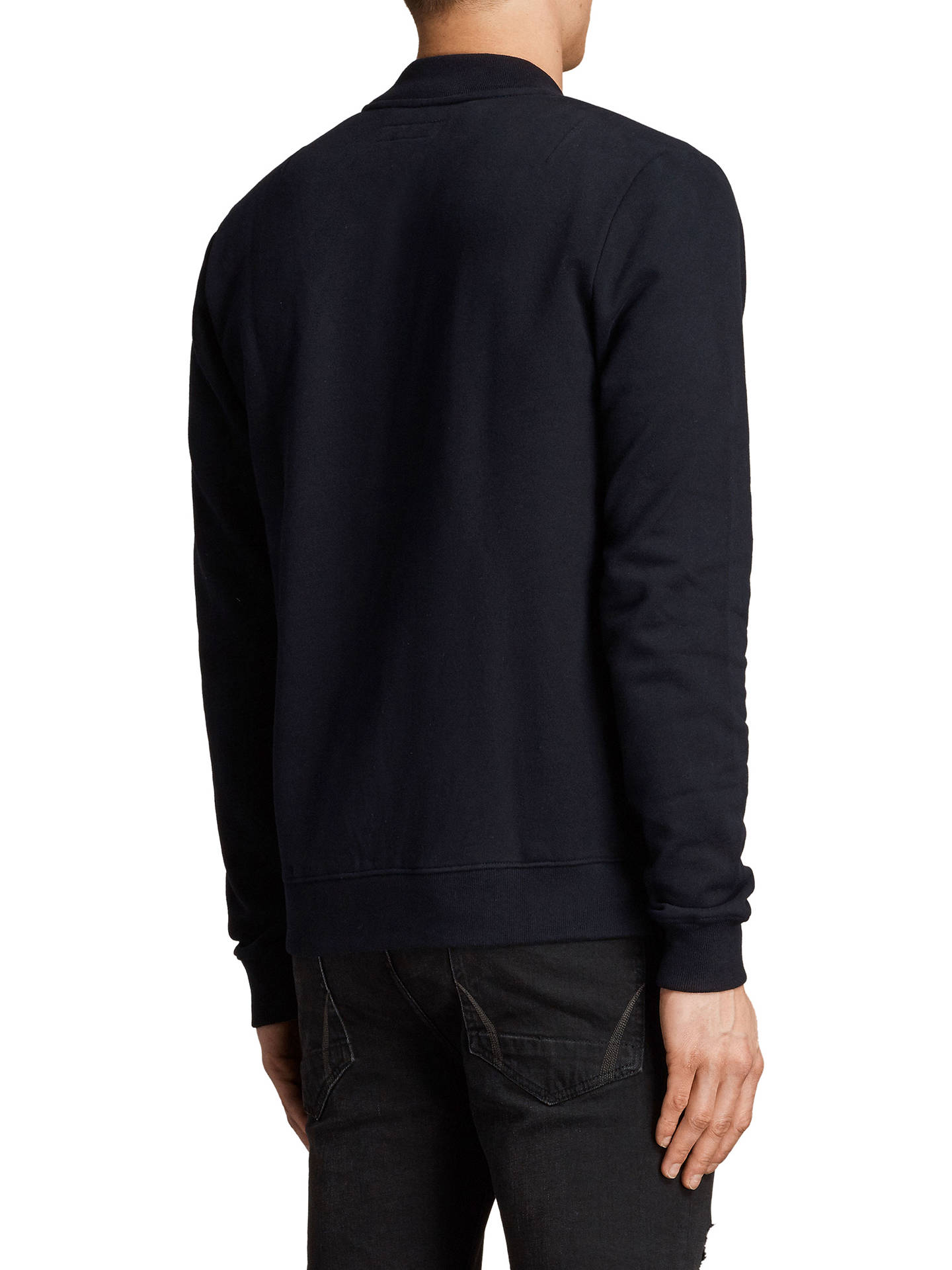 BuyAllSaints Raven Bomber Jersey Cardigan, Ink Navy, XS Online at johnlewis.com