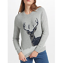 Buy Collection WEEKEND by John Lewis Snow Deer Xmas Jumper, Grey Online at johnlewis.com