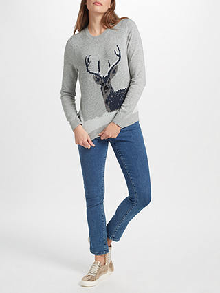 Buy Collection WEEKEND by John Lewis Snow Deer Xmas Jumper, Grey, 8 Online at johnlewis.com