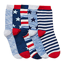 Buy John Lewis Boys' Nautical Star And Stripe Socks, Pack of 5, Blue/Red Online at johnlewis.com