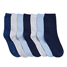 Buy John Lewis Boys' Marl Textured Socks, Pack of 7, Multi Online at johnlewis.com
