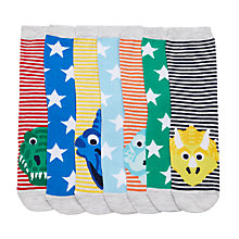 Buy John Lewis Boys' Dinosaur Socks, Pack of 7, Multi Online at johnlewis.com