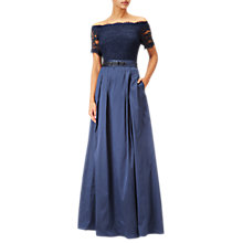 Buy Adrianna Papell Long Off The Shoulder Dress, Navy Online at johnlewis.com