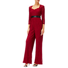Buy Adrianna Papell Three Quarter Sleeve Wide Leg Lace Jumpsuit, Crimson Online at johnlewis.com