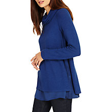 Buy Phase Eight Winnifred Woven Hem Rollneck Jumper, Airforce Blue Online at johnlewis.com