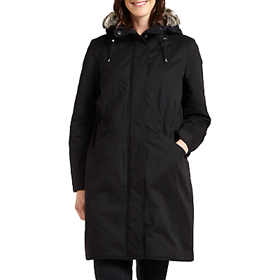 Four Seasons Faux Fur Trimmed Three-Quarter Length Coat, Black
