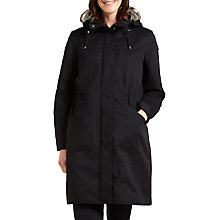 Buy Four Seasons Faux Fur Trimmed Three-Quarter Length Coat, Black Online at johnlewis.com