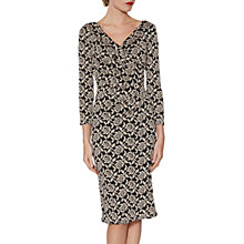 Buy Gina Bacconi Grace Floral Jacquard Dress, Black/Peach Online at johnlewis.com