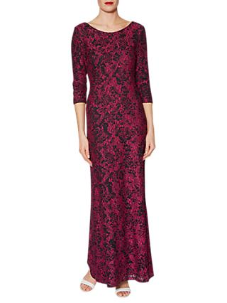 Gina Bacconi Phyllis Lace Maxi Dress, Cerise