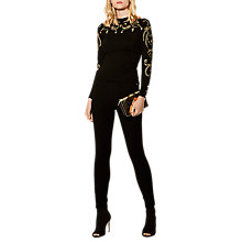 Buy Karen Millen Embroidered Military Jumper, Black/Multi Online at johnlewis.com