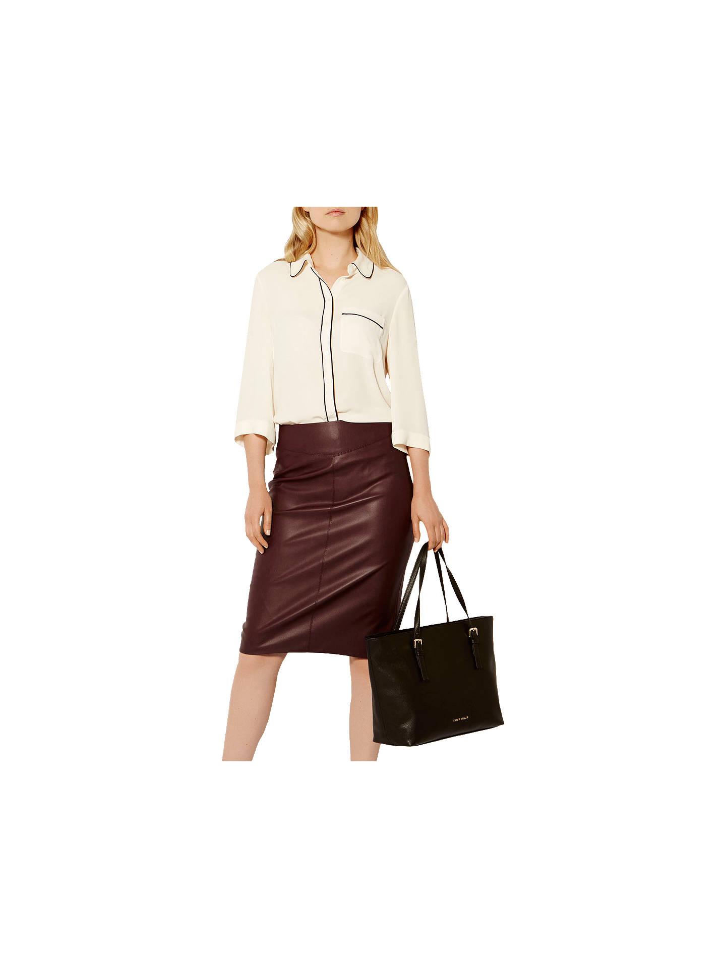 2183f277acf Karen Millen Faux Leather Pencil Skirt Aubergine   Saddha