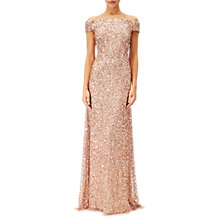 Buy Adrianna Papell Off Shoulder Beaded Gown, Rose Gold Online at johnlewis.com