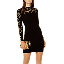 Buy Karen Millen Embroidered Military Mini Dress, Black/Gold Online at johnlewis.com