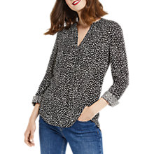 Buy Oasis Animal Pintuck Shirt, Black/White Online at johnlewis.com