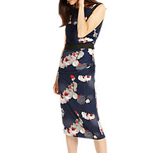 Buy Phase Eight Sakura Slinky Jersey Midi Dress, Sapphire/Multi Online at johnlewis.com