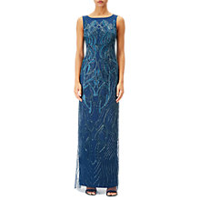Buy Adrianna Papell Petite Beaded Long Dress, Deep Blue Online at johnlewis.com