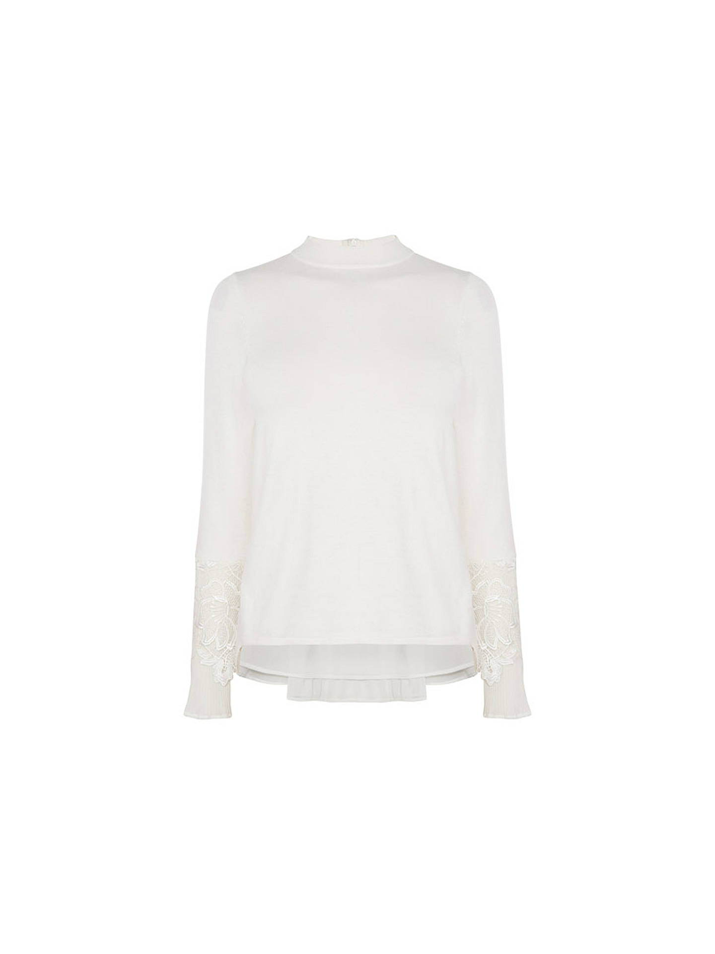BuyCoast Rose Pleat Lace Knit Top, Ivory, XS Online at johnlewis.com