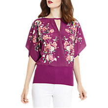 Buy Oasis Kimono Woven Wrap Top, Multi/Purple Online at johnlewis.com