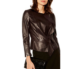 Buy Karen Millen Drape Front Leather Jacket, Aubergine Online at johnlewis.com