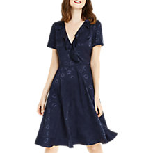 Buy Oasis Long Length Floral Jacquard Dress, Navy Online at johnlewis.com