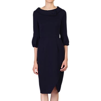 Jolie Moi Bell Sleeve Wrap Detail Dress, Navy