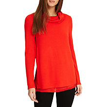 Buy Phase Eight Winnifred Woven Hem Roll Neck Jumper, Flame Online at johnlewis.com