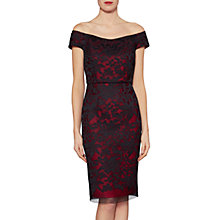 Buy Gina Bacconi Felicity Embroidered Mesh Bardot Pencil Dress, Poppy Online at johnlewis.com