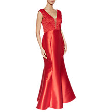 Buy Gina Bacconi Violetta Satin Lace Bodice Dress, Red Online at johnlewis.com