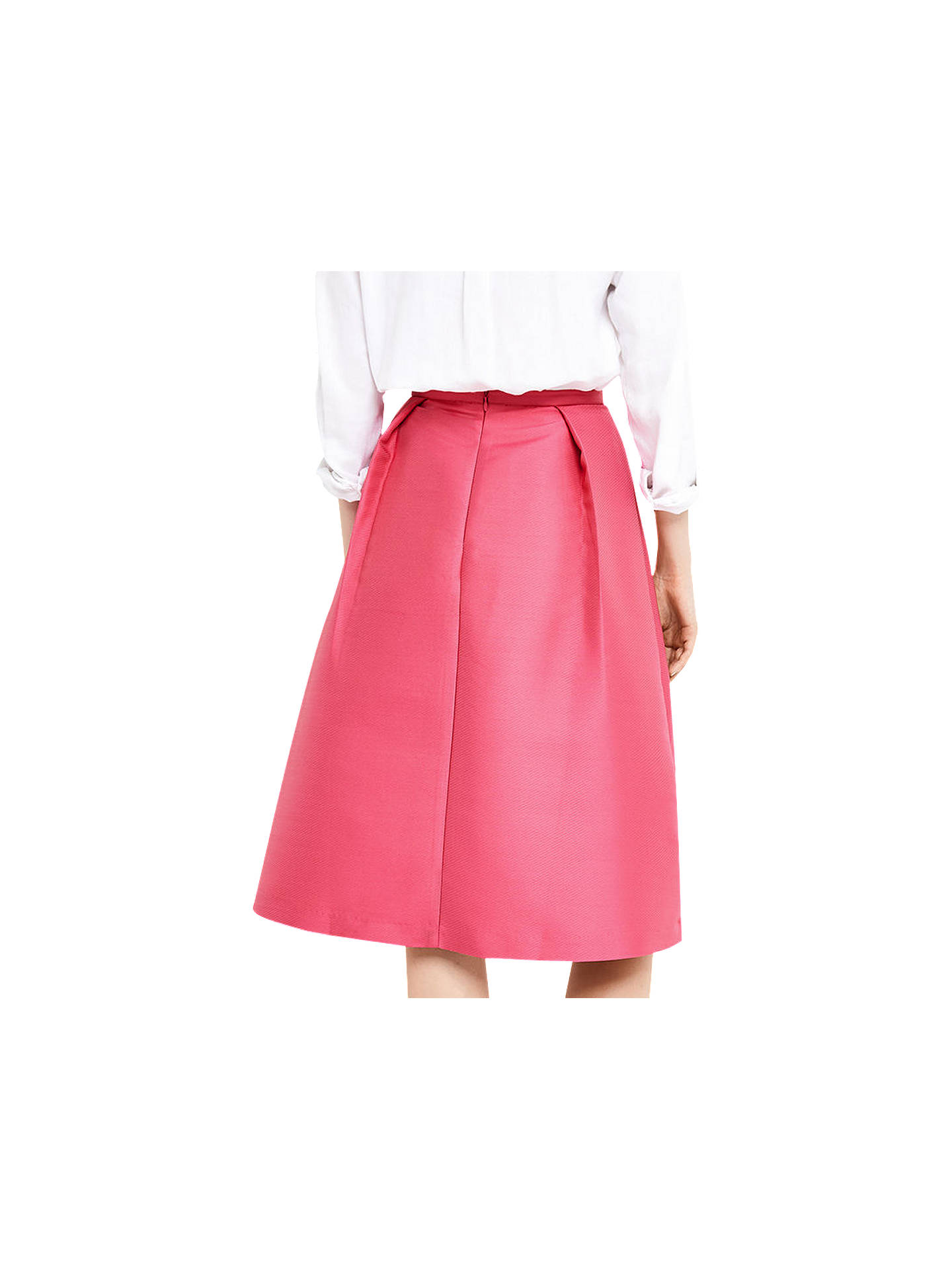 BuyOasis Satin Twill Midi Skirt, Bright Pink, 6 Online at johnlewis.com