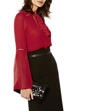 Buy Karen Millen Tie Neck Blouse, Red Online at johnlewis.com