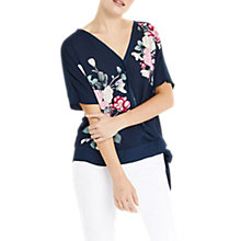 Buy Oasis Kimono Wrap Front Top, Multi/Blue Online at johnlewis.com
