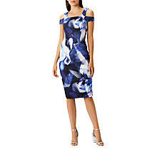 Buy Coast Idole Print Scuba Cold Shoulder Midi Shift Dress, Blue/White Online at johnlewis.com
